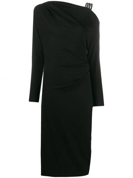 Шерстяное черное платье миди с потайной застежкой Brunello Cucinelli