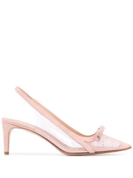 Туфли на каблуке кожаные с острым носком Redvalentino