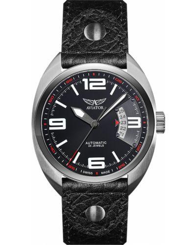 Часы механические водонепроницаемые с кожаным ремешком Aviator
