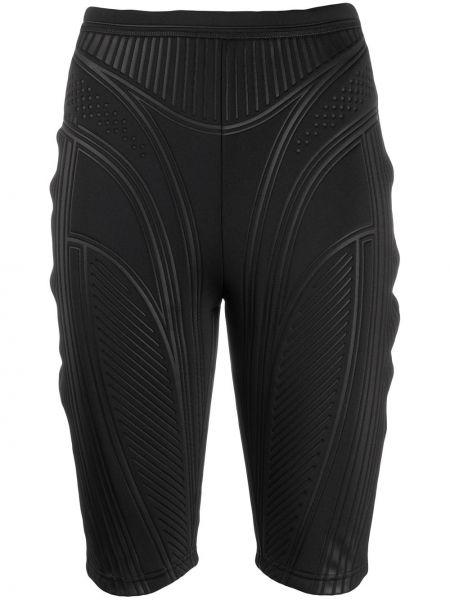 Однобортные черные шорты Mugler