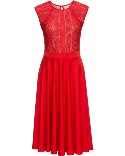 Платье ажурное красный Bonprix