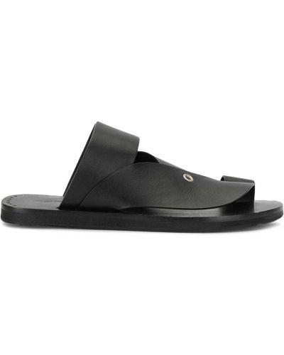 С ремешком открытые кожаные черные сандалии Jil Sander