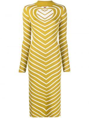 Платье миди в полоску - желтое Staud