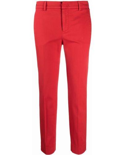 Красные хлопковые укороченные брюки с поясом Pt01