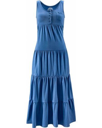 Плиссированное джинсовое платье на пуговицах Bonprix