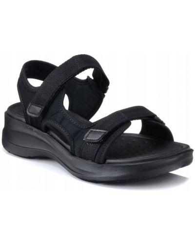 Czarne sandały na rzepy materiałowe Azaleia