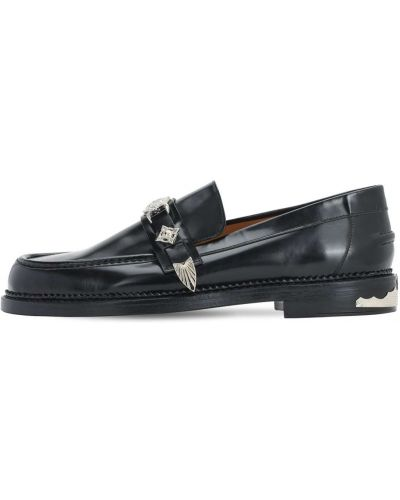 Czarne loafers skorzane klamry Toga Virilis