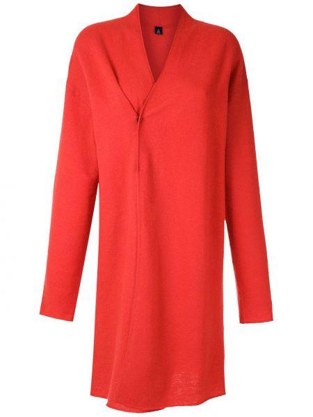 Прямое красное шерстяное длинное пальто Osklen