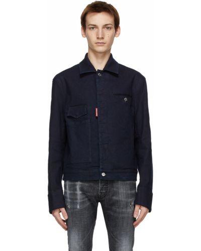 Джинсовая куртка длинная - синяя Dsquared2