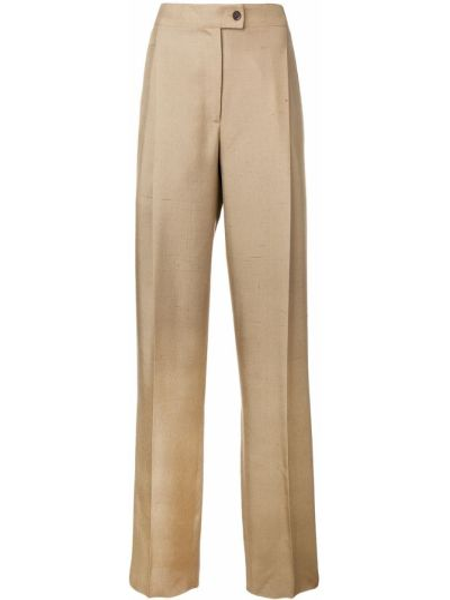 Шелковые коричневые брюки на молнии Salvatore Ferragamo