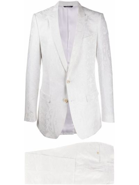 Biały garnitur z jedwabiu zapinane na guziki Dolce And Gabbana