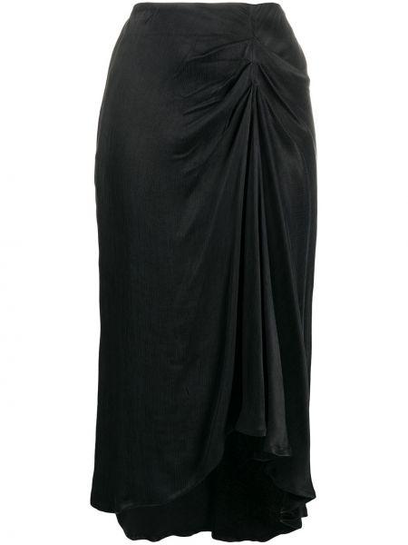 Черная с завышенной талией юбка миди из вискозы Ba&sh
