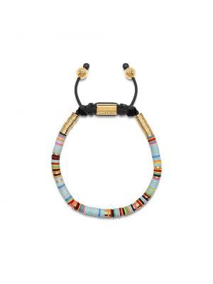 Синий золотой браслет позолоченный с бисером свободного кроя Nialaya Jewelry
