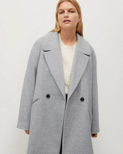 Серое пальто двубортное Violeta By Mango