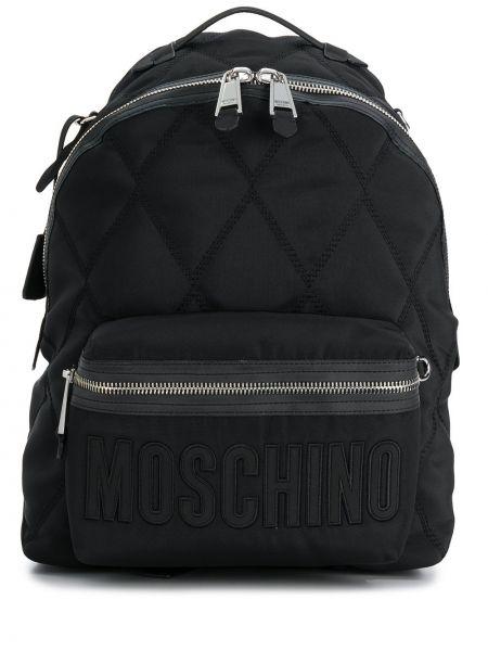 Skórzany plecak z haftem czarny Moschino