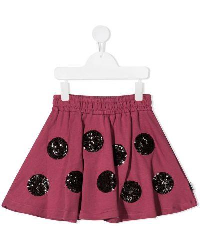 Хлопковая розовая юбка мини с пайетками с поясом Molo