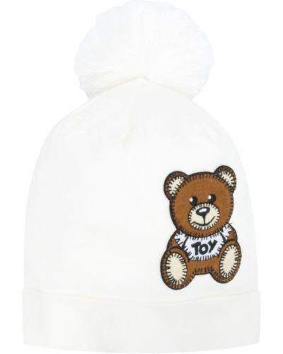 Хлопковая белая шапка в рубчик с отворотом Moschino Kids