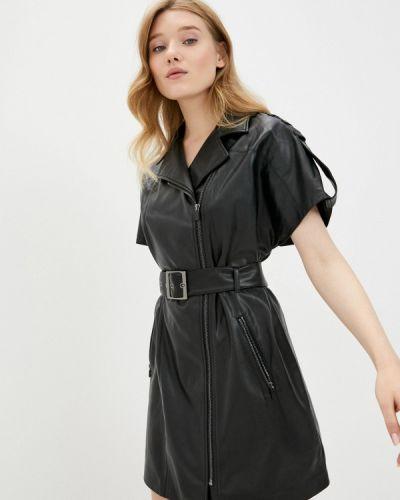 Кожаное черное платье Befree
