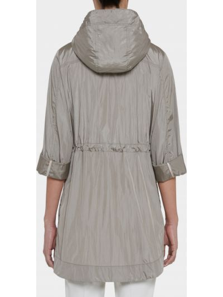Нейлоновая серая длинная куртка с капюшоном Geox