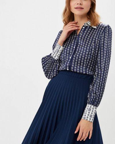 Блузка с длинным рукавом синяя весенний Galina Vasilyeva