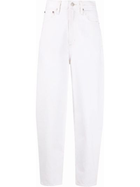 С завышенной талией белые укороченные джинсы с карманами Agolde