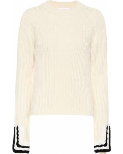 Biały bawełna bawełna sweter Helmut Lang