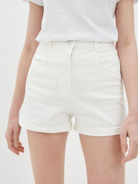 Белые джинсовые шорты со стразами Patrizia Pepe