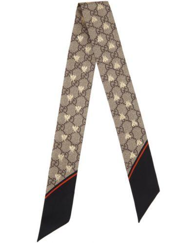 Jedwab czarny szalik z paskami Gucci
