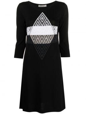 Черное платье-рубашка трапеция с вышивкой D.exterior