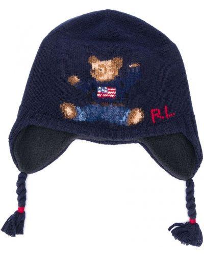 Niebieska czapka wełniana z haftem Ralph Lauren Kids