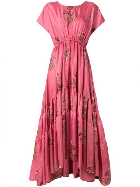 Расклешенное розовое платье мини с вышивкой с вырезом Romance Was Born
