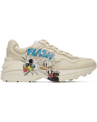 Beżowe sneakersy skorzane sznurowane Gucci