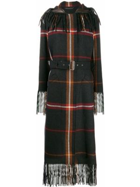 Серое кожаное пальто с капюшоном Salvatore Ferragamo