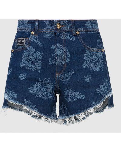 Синие джинсовые шорты Versace Jeans Couture
