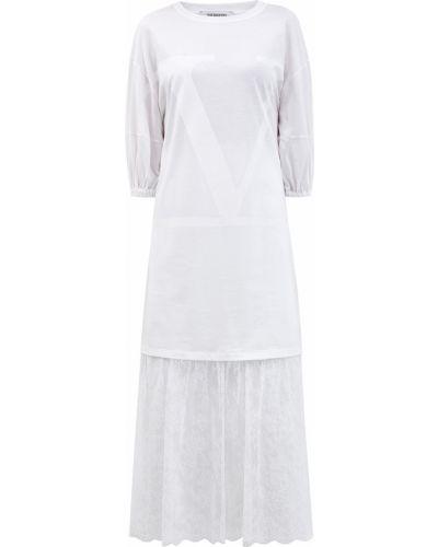 Белое пышное платье миди с оборками с короткими рукавами Valentino
