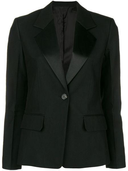Однобортная шелковая классическая черная куртка Helmut Lang