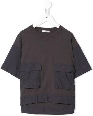 Синяя футболка с карманами круглая с круглым вырезом Fith