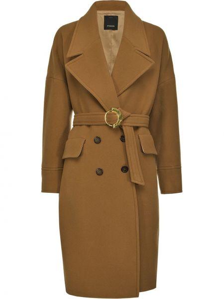 Brązowy wełniany długi płaszcz z kieszeniami z długimi rękawami Pinko