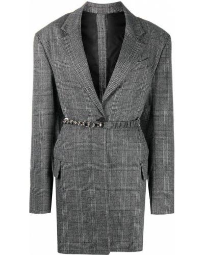 Серый удлиненный пиджак в клетку на пуговицах Rokh