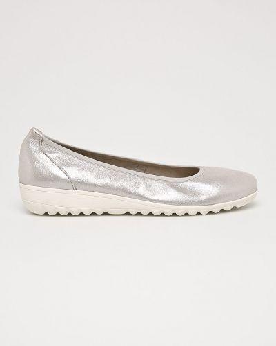 Балетки кожаные серебряного цвета Caprice