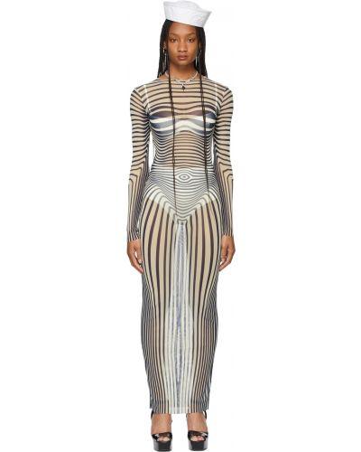 Beżowa sukienka długa w paski Jean Paul Gaultier