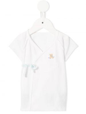 Белая блузка с короткими рукавами с запахом Familiar