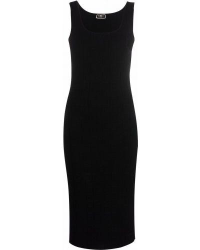 Приталенное платье миди - черное Elisabetta Franchi