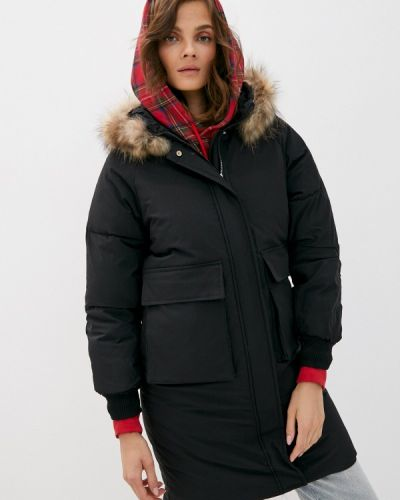 Теплая черная зимняя куртка Liana