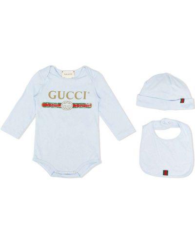 С рукавами хлопковое синее боди с длинными рукавами с вырезом Gucci Kids