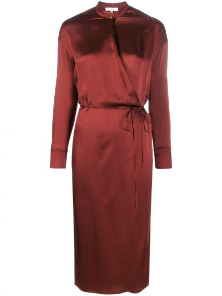 Платье миди на пуговицах красный Vince.