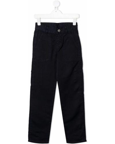Хлопковые прямые синие брюки на пуговицах Lanvin Enfant