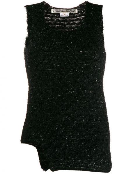 Czarny top bez rękawów z nylonu Comme Des Garcons