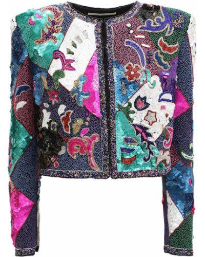 Шелковый фиолетовый пиджак с вышивкой с подкладкой Alessandra Rich