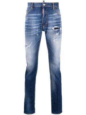 Хлопковые синие джинсы эластичные Dsquared2
